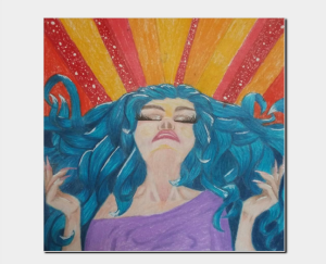 """I call this piece """"power"""". She is drawn using Prismacolor pencil's and gel pens. This picture can be purchased at my store CrzyCreations.storenvy.com"""