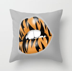 tiger, lips, pillow